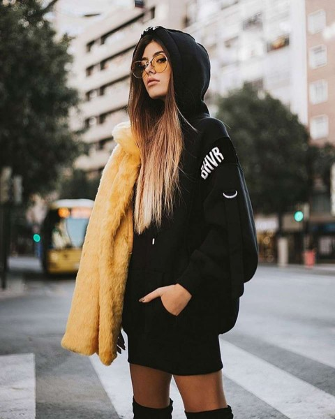 ERROR HOODIE DRESS BLACK WOMEN