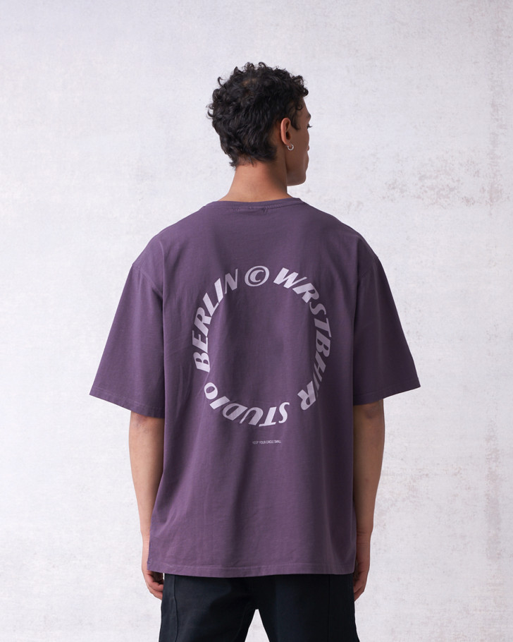 CIRCLE T-SHIRT PLUM GREY WASHED