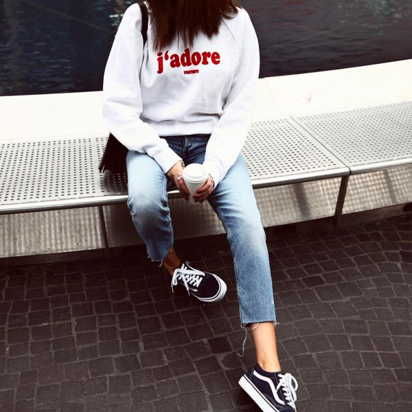 J'ADORE CREWNECK WHITE WOMEN