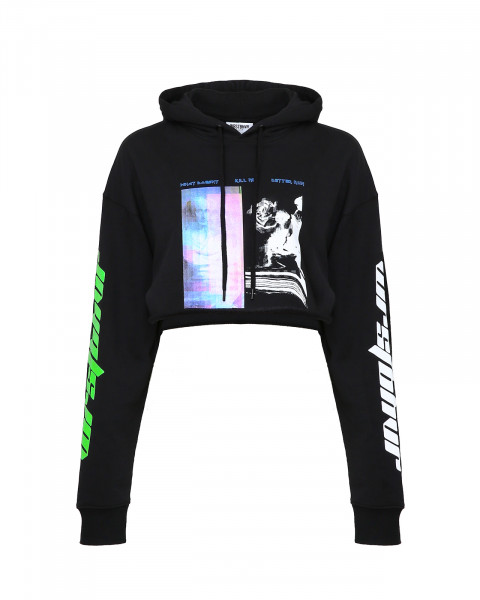 BETTER RUN CROPPED HOODIE BLACK