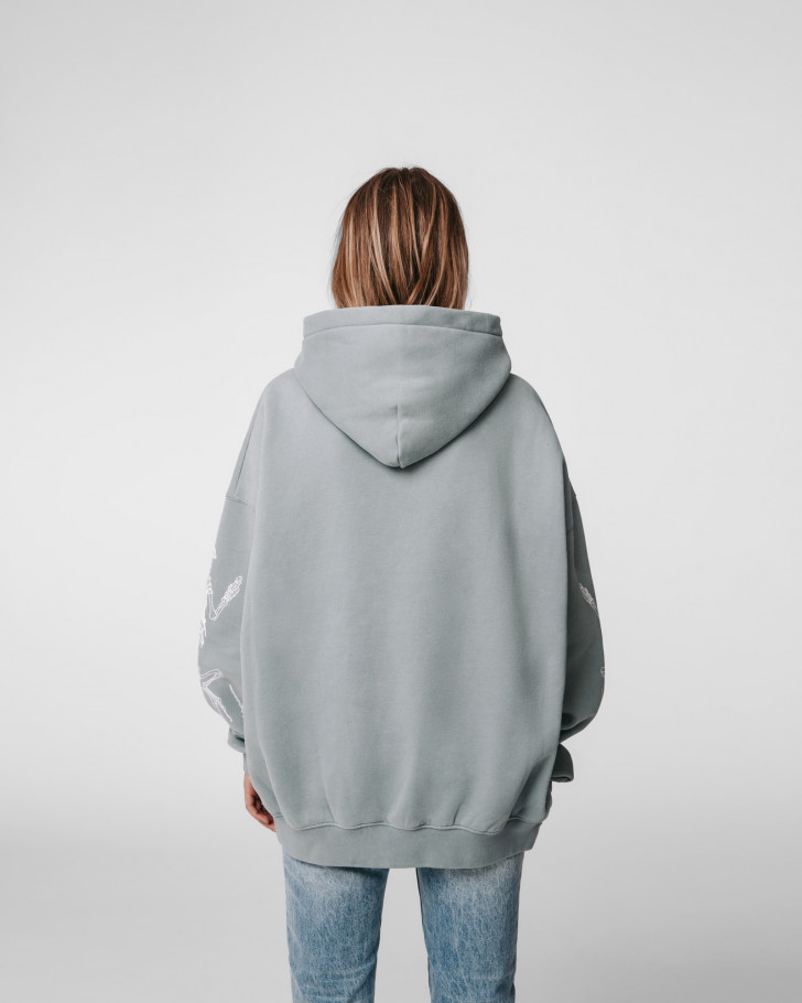 DIE OUT HOODIE SAGE GREEN WASHED WOMEN