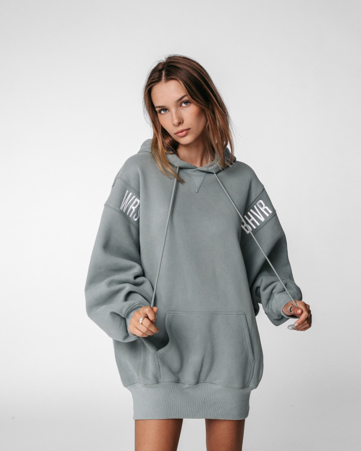 ERROR HOODIE DRESS SAGE GREEN WOMEN