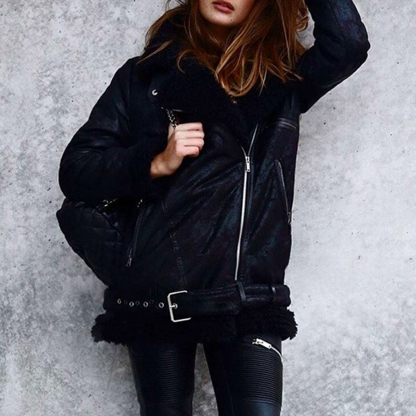 SHEARLING JACKET BLACK WOMEN