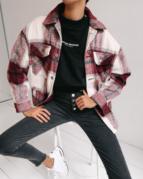 GENTLE OVERSHIRT CHECKED RED WOMEN
