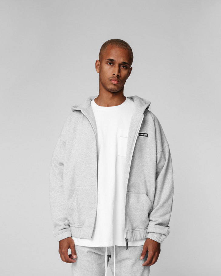 NOC HOODED ZIP JACKET GREY MELANGE MEN