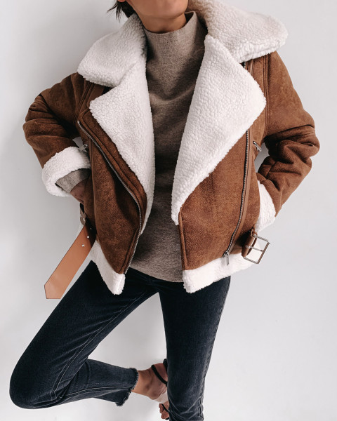 TOFFEE SHEARLING JACKET BEIGE