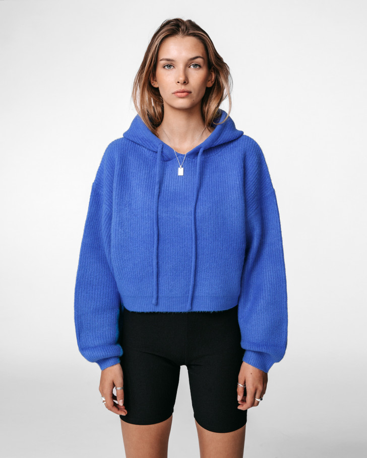 JENN KNIT HOODIE ROYAL BLUE WOMEN