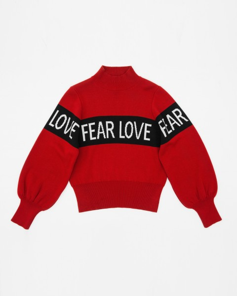 FEAR LOVE KNIT SWEATER RED WOMEN