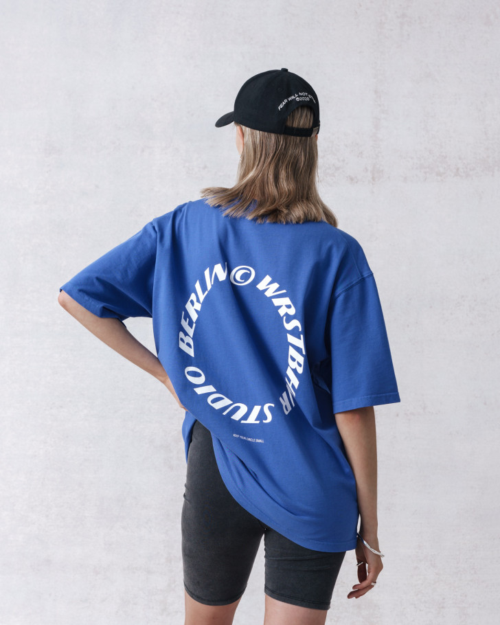 CIRCLE T-SHIRT ROYAL BLUE WASHED