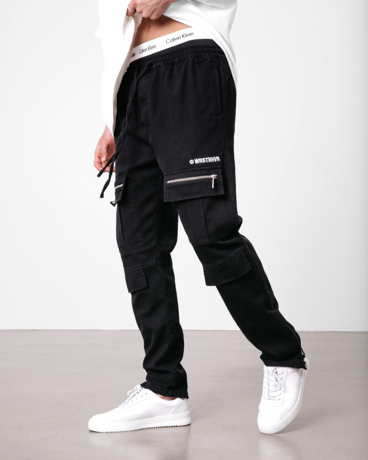 HYBRID PANTS BLACK WASHED MEN