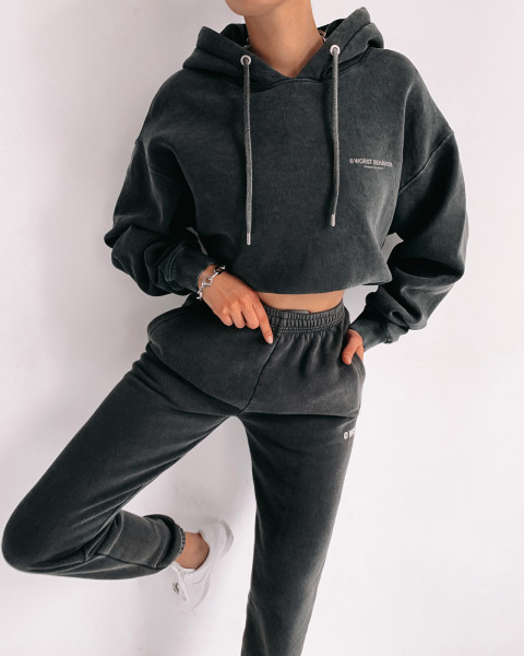FAITH HOODIE BOXY WASHED BLACK WOMEN