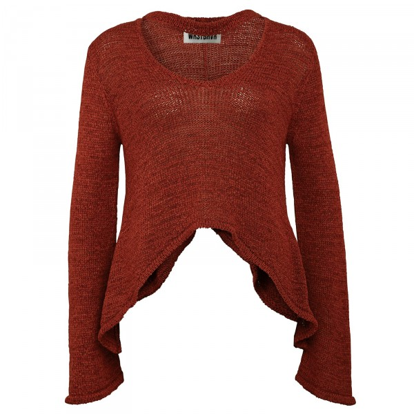 LONGTIME KNIT SWEAT RED WOMEN