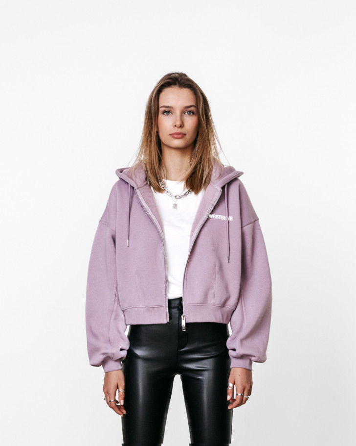 CORBY HOODED ZIP JACKET STONE LILAC WOMEN