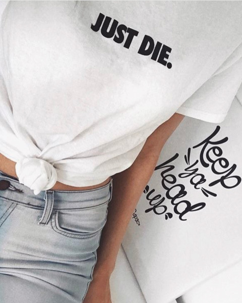 JUST DIE TEE WHITE WOMEN