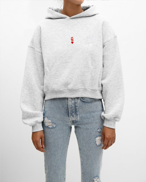 Q-HEART CROPPED HOODIE GREY