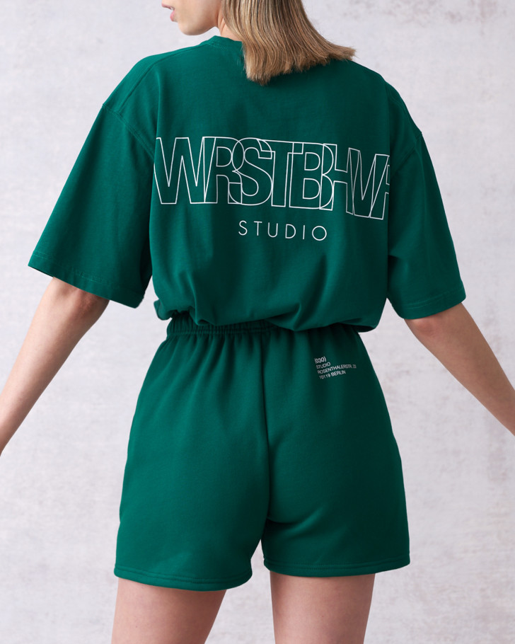 STUDIO V2 T-SHIRT BOTTLE GREEN WASHED