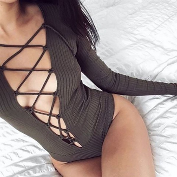 LACE UP BODY OLIVE WOMEN