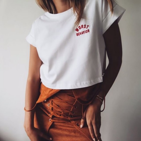 UNPLUGGED CROP TEE WHITE WOMEN